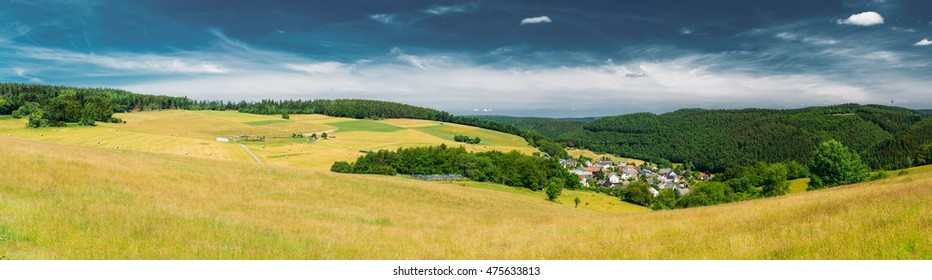 Panorama, Panoramic View Of Rural Landscape In Germany. Village