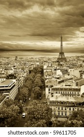 Panorama of Paris from Arc de Triomphe
