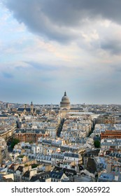Panorama of Paris in France. Le Pantheon in the center of Latin Quarter. View of sunset from Notre Dame de Paris.