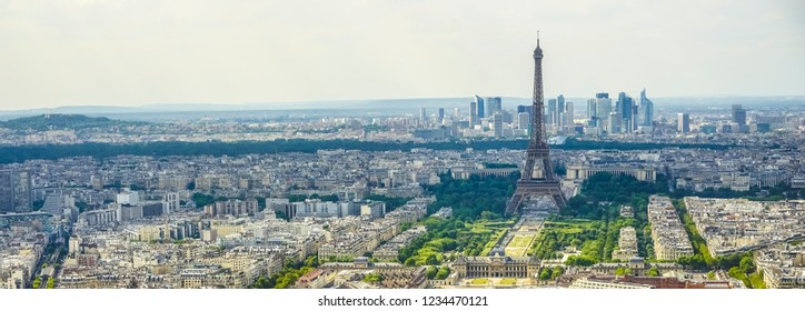 Panorama of Paris from the Montparnasse Tower. France. Eifel tower.