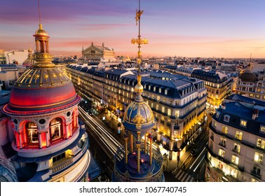 Panorama of Paris at sunset - Opera Garnier in the background