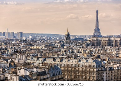 Panorama of Paris at sunset. View from Cathedral Notre Dame de Paris. France.