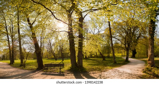 Panorama of a park bench in a park in autumn at Starnberger lake