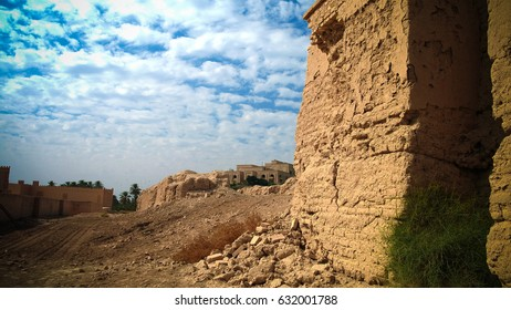 Panorama of partially restored Babylon ruins and Former Saddam Hussein Palace, Babylon, Hillah, Iraq
