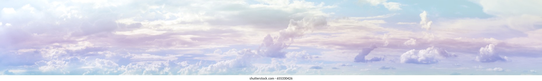 Panorama pastel sky and soft clouds in gradient pastel colored for wide sky clouds background