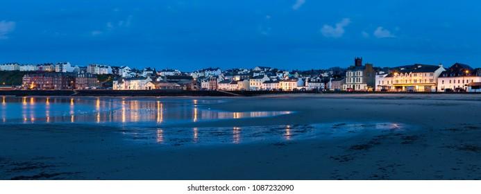 Panorama of Peel at evening. Peel, Isle of Man.