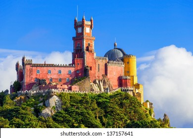 Panorama of Pena National Palace in Sintra, Portugal. UNESCO World Heritage Site and one of the Seven Wonders of Portugal