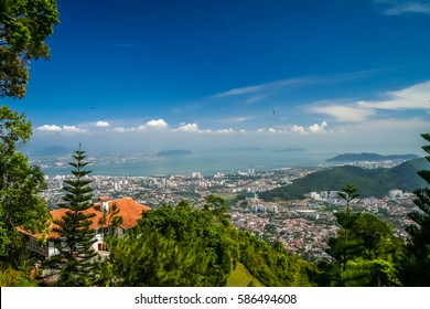 Panorama of Penang ( Georgetown ) in Malaysia seen from Penang Hill