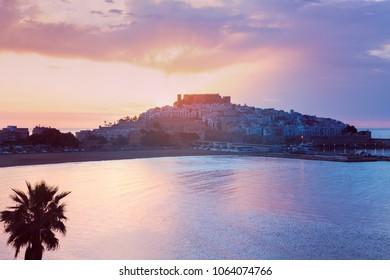 Panorama of Peniscola at sunrise. Peniscola, Valencian Community, Spain.