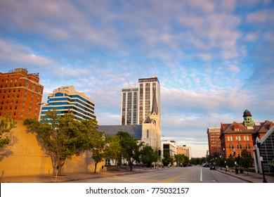 Panorama of Peoria at sunset. Peoria, Illinois, USA.