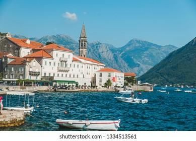 panorama of perast city in montenegro. summer vacation