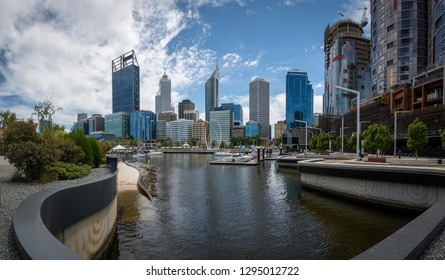 Panorama of Perth skyline downtown seen from Elizabeth Quay with new port and Spanda monument