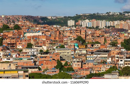 Panorama of Petare Slum in Caracas, capital city of Venezuela. Petare is regarded as one of the largest slums in the world