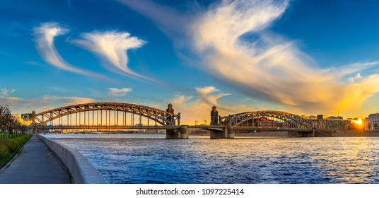 Panorama of Petersburg. Russia. Panorama of the bridge. Bridges of St. Petersburg. The Bridge of Peter the Great. Quay in St. Petersburg.