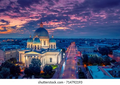 Panorama of Petersburg. Trinity Cathedral in St. Petersburg.