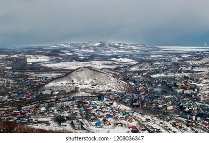 Panorama of Petropavlovsk-Kamchatsky in winter in good clear weather from the hill Mishennaya from the observation deck