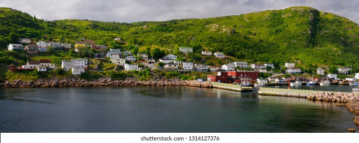 Panorama of Petty Harbour-Maddox Cove houses on hillside Avalon Peninsula, Petty Harbour, Newfoundland, Canada - August 2, 2009