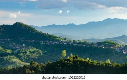 Panorama of Pfongsaly in North of Laos.