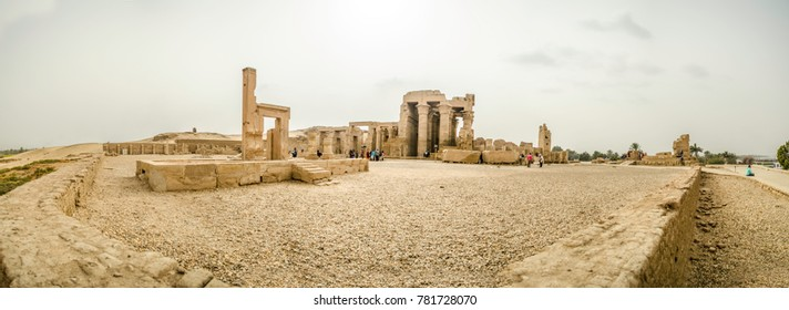 A panorama of a pharaoh temple