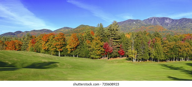 Panorama photo of Autumn foliage in the Adirondacks, New York