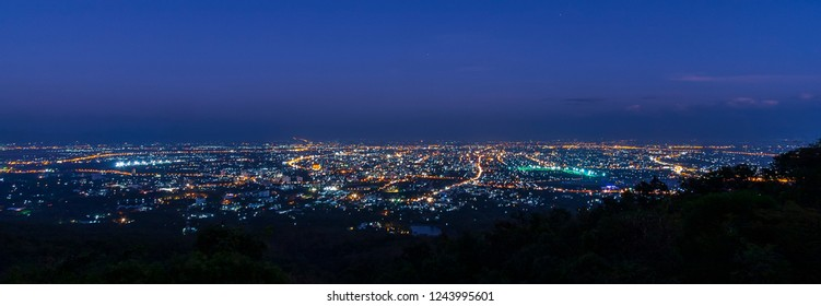 Panorama photo of cityscape with twilight blue sky. Doi Suthep scenic point at Chiang mai , Thailand
