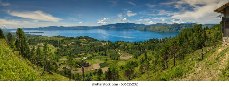 Panorama photo Danau Toba (Lake Toba Panoraman) from Batu Marhosa Huta Tinggi, Onan Runggu, Samosir, Sumatera Utara Indonesia