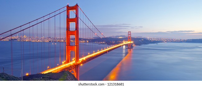 Panorama photo of Golden Gate Bridge at night time, San Francisco, USA