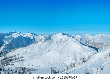 Panorama photo of  the Kleinwalsertal skiing region in Austria
