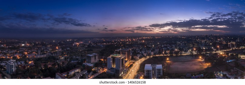 Panorama photo of Nairobi cityscape - capital city of Kenya, East Africa - Image