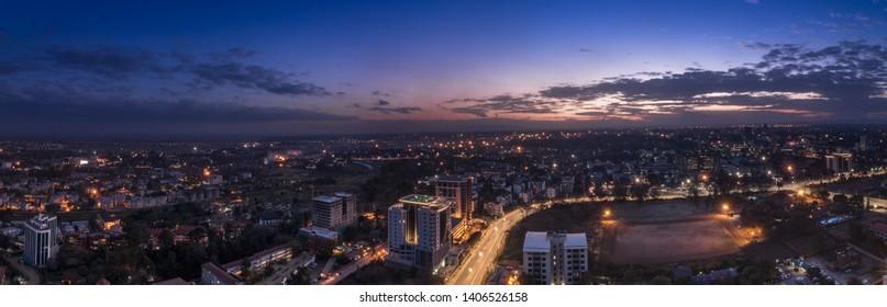 Panorama photo of Nairobi cityscape - capital city of Kenya, East Africa - Image