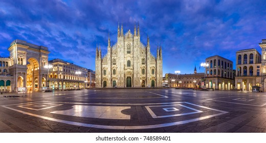 Panorama of the Piazza del Duomo, Cathedral Square, with Milan Cathedral or Duomo di Milano, Galleria Vittorio Emanuele II and Arengario, during morning blue hour, Milan, Lombardia, Italy