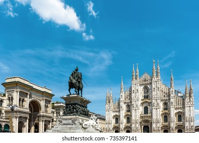 Panorama of the Piazza del Duomo, Milan, Italy. Galleria, monument to Victor Emmanuel II and Milan Cathedral (Duomo di Milano) - famous landmarks of Milan. Panoramic sunny view of Milan in summer.