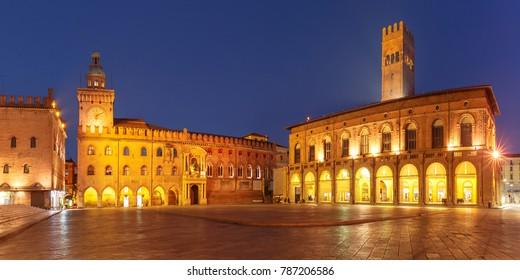 Panorama of Piazza Maggiore square with Palazzo del Podesta and Palazzo d'Accursio or Palazzo Comunale at night, Bologna, Emilia-Romagna, Italy