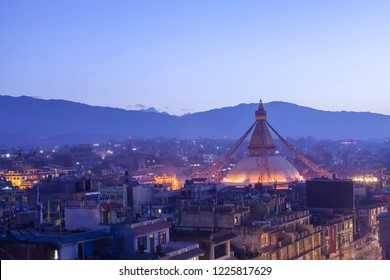 Panorama picture of boudhanath stupa before earthquake , Nepal.Kathmandu , the capital city of Nepal in early morning twilight blue sky,This photo was taken before Nepal great earthquake 2015.