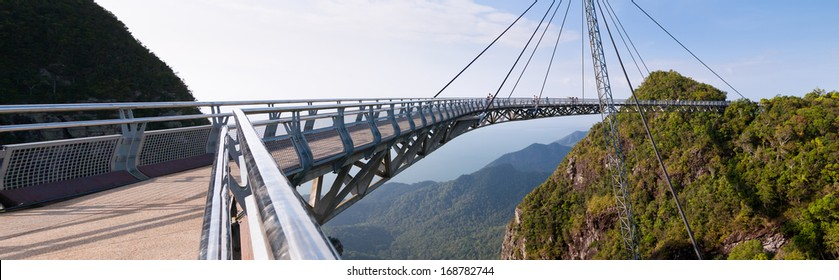 Panorama picture of the hanging bridge of Langkawi island, Malaysia