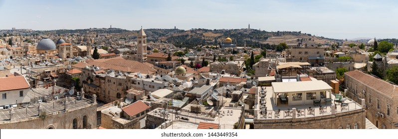 A panorama picture of Jerusalem's Old City as seen from the top of the Tower of David.