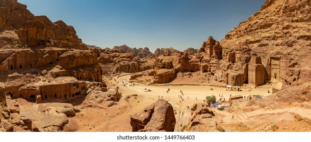 A panorama picture of Petra as seen from a vantage point.