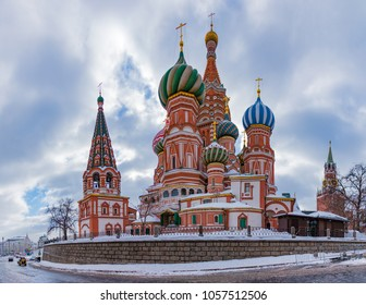 A panorama picture of Saint Basil's Cathedral taken from the street side.