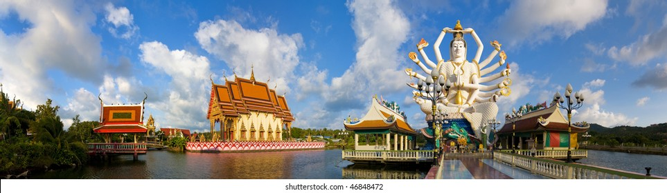 panorama picture of wat plai laem with statue of shiva in koh samui, thailand