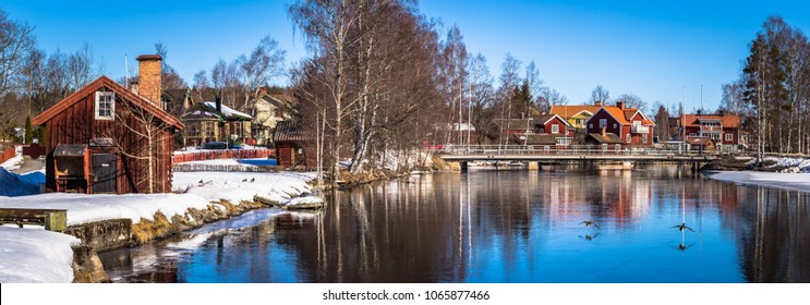 Panorama of the picturesque town of Sundborn in Dalarna, Sweden