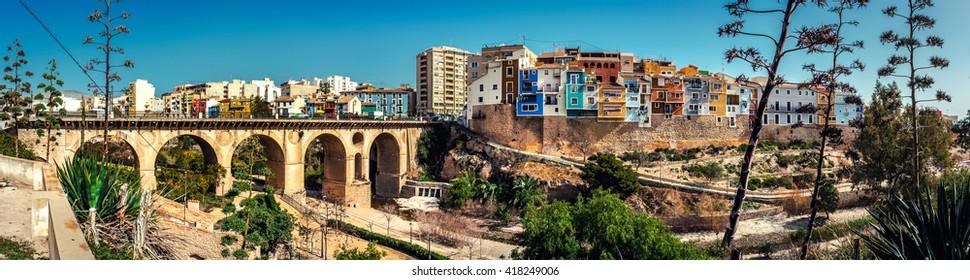 Panorama of picturesque town of Villajoyosa / La Vila Joiosa. Coastal town of Costa Blanca. Province of Alicante, Valencian Community, Spain