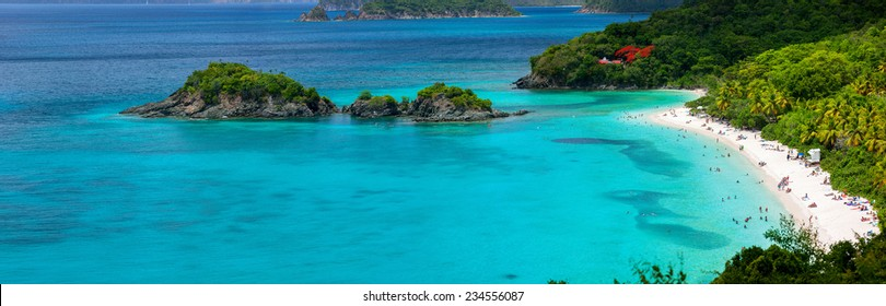Panorama of picturesque Trunk bay on St John island, US Virgin Islands considered by many as most beautiful beach in Caribbean