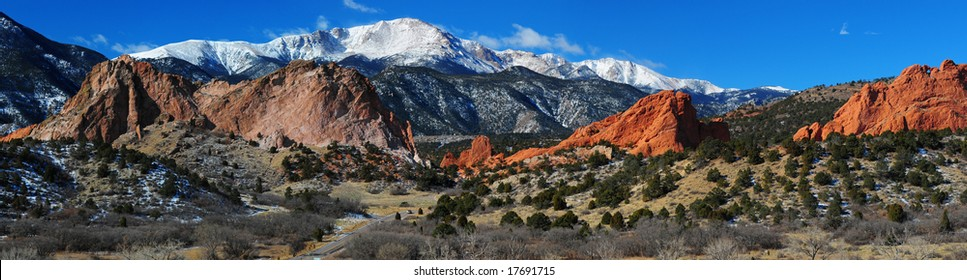 Panorama of Pikes Peak Soaring over the Garden of the Gods near Colorado Springs, Colorado in Winter