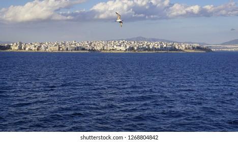 Panorama of Pireus in Greece