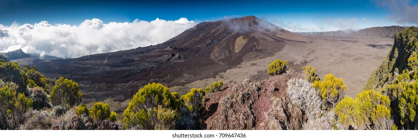 Panorama of Piton de la Fournaise, La Reunion, France