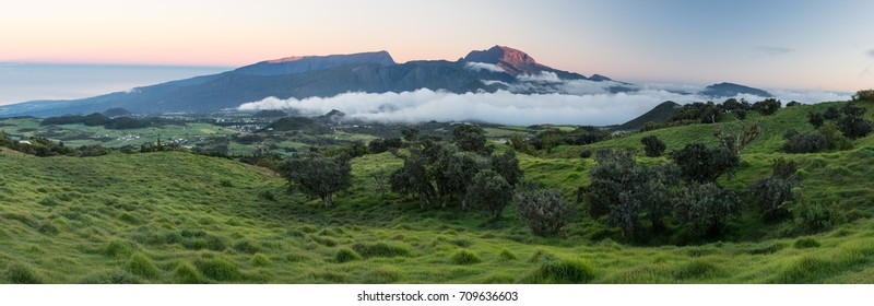 Panorama of Piton des Neiges at Sunrise, La Reunion, France