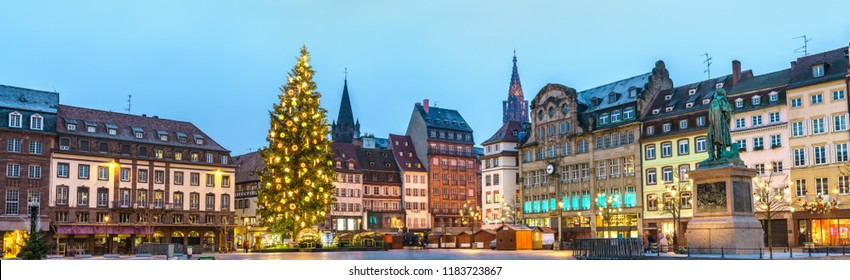 Panorama of Place Kleber with the Christmas Tree and Market in Strasbourg - Alsace, France