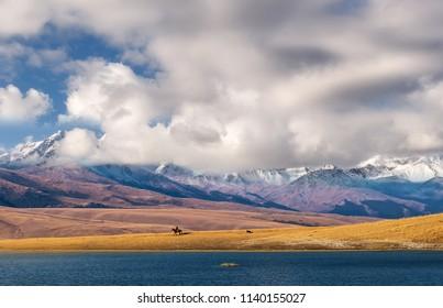Panorama plateau Assy-Turgen in Kazakhstan, near Almaty city.