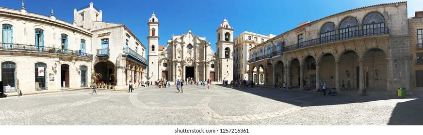 Panorama of the Plaza de la Catedral in Havana in Cuba