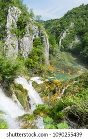 Panorama of Plitvice Lakes National Park in Croatia